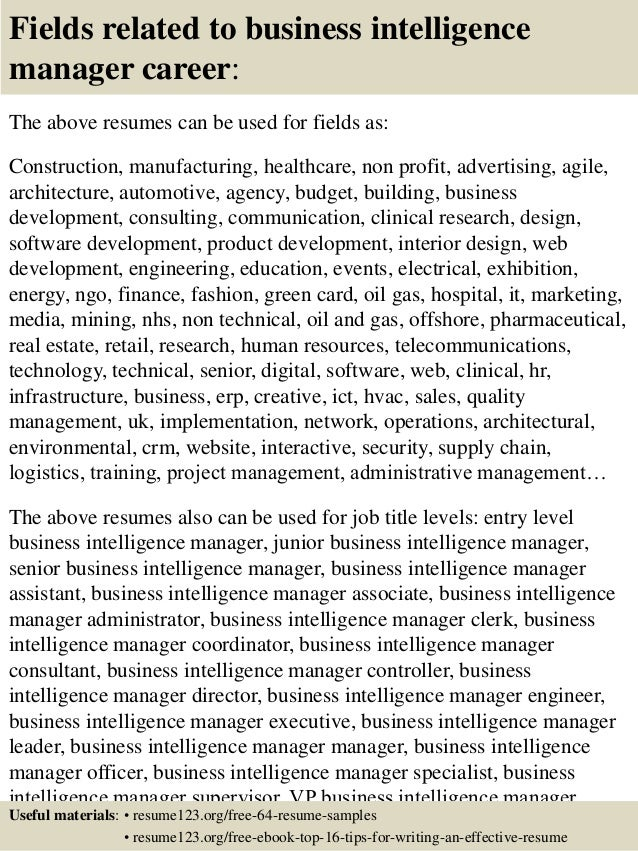 16. Fields Related To Business Intelligence Manager .