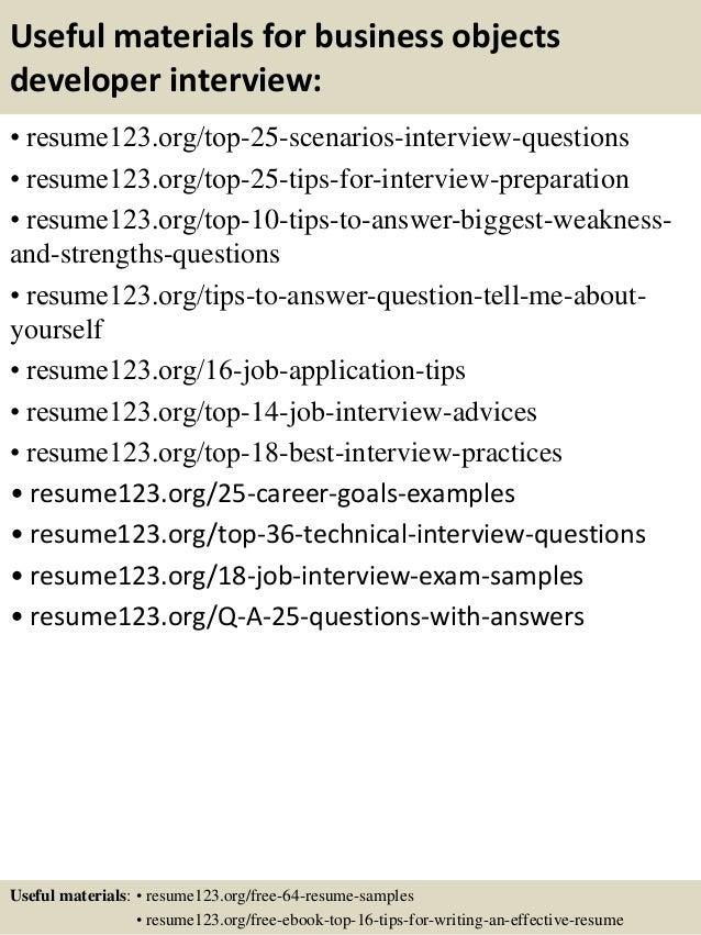 Sample Resume Business Objects Developer