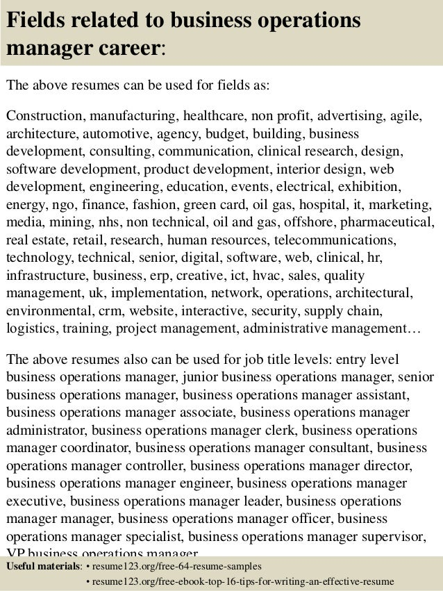 Business Operations Manager Resume Document Sample - Vosvete.Net