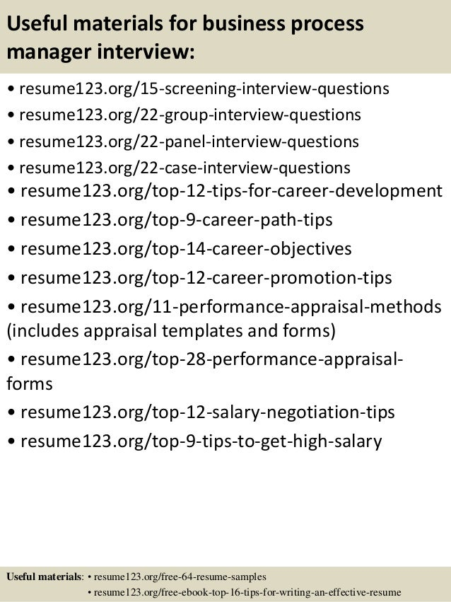 Top 8 Business Process Manager Resume Sles