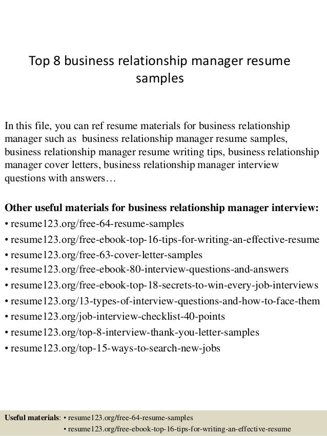 Top 8 business relationship manager resume samples In this file, you can  ref resume materials ...