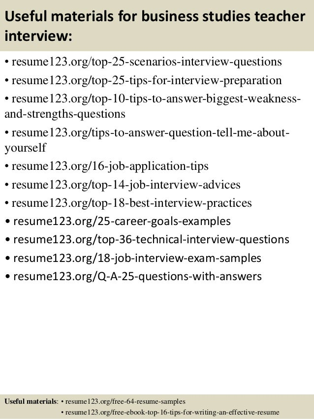 Top  Business Studies Teacher Resume Samples