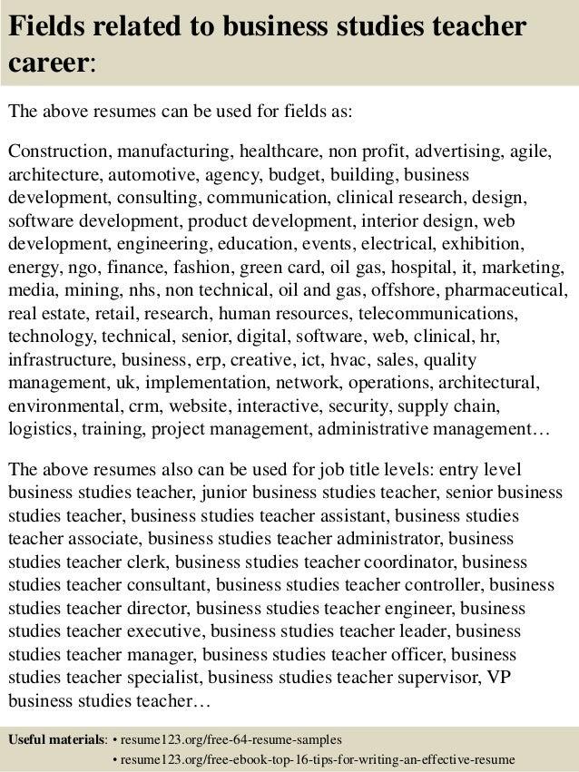 ... 16. Fields Related To Business Studies Teacher ...
