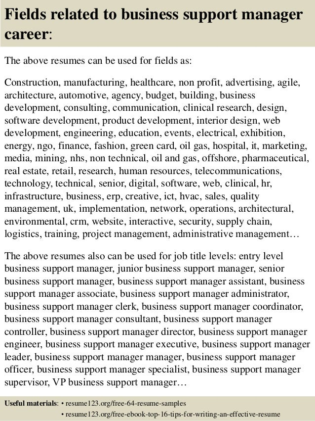 top 8 business support manager resume samples