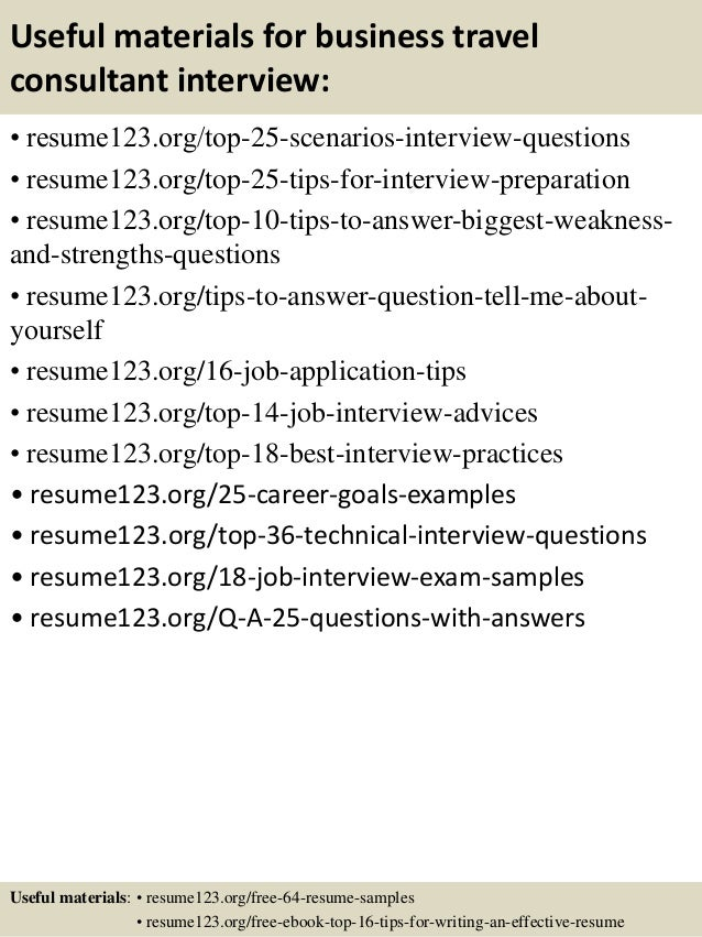 useful materials for business travel consultant interview resume123