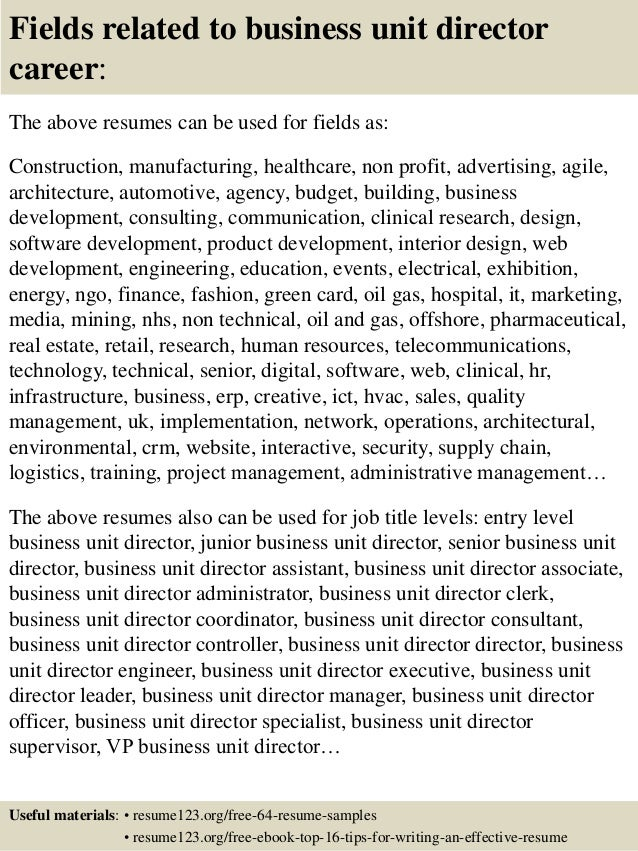 Top 8 business unit director resume samples