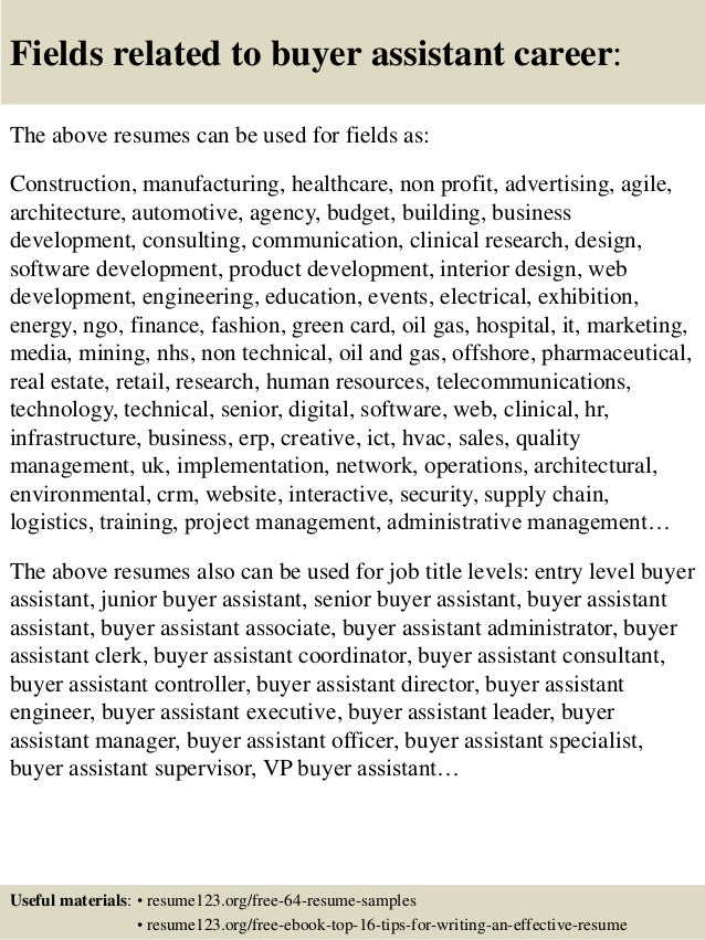 16 fields related to buyer assistant