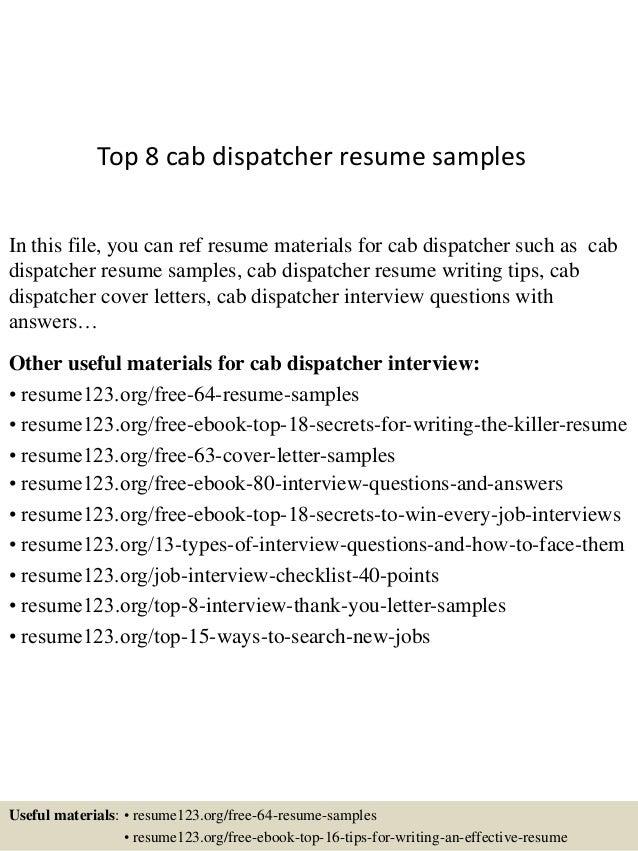 Dispatcher Cover Letters