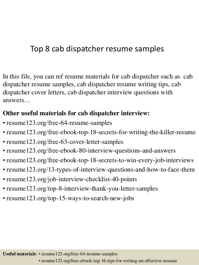 top 8 cab dispatcher resume samples