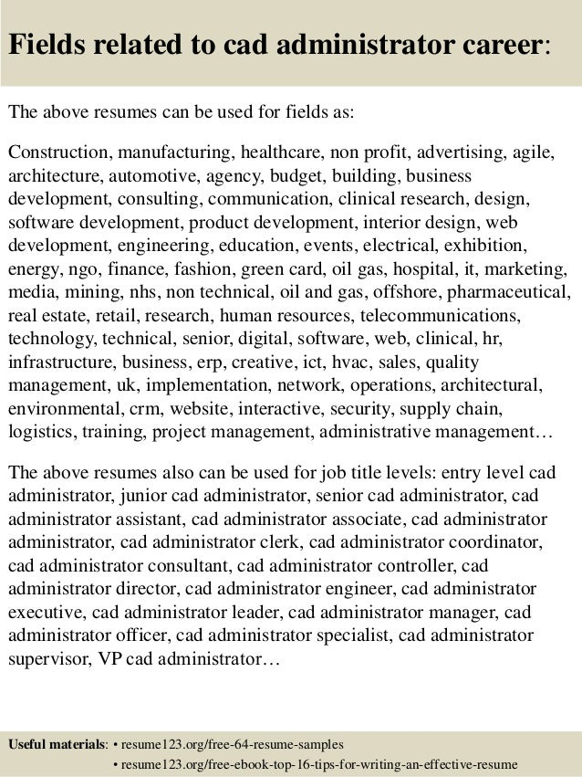 Top 8 cad administrator resume samples