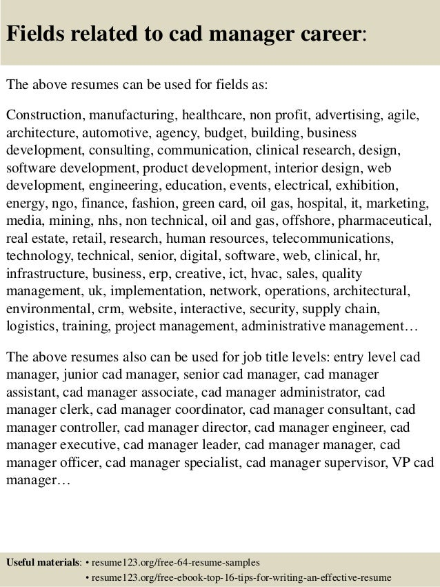 Top 8 cad manager resume samples
