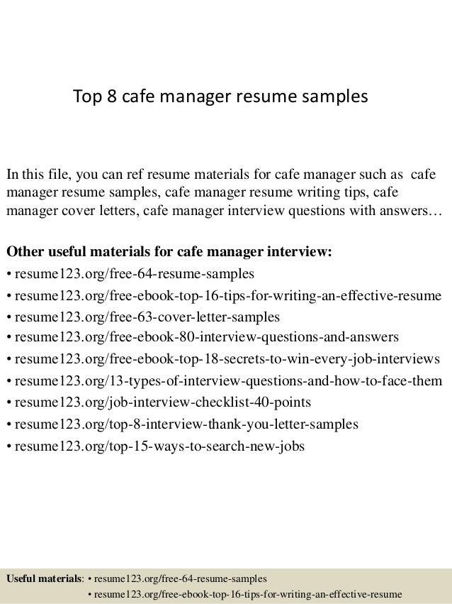 cafe manager resume - Acur.lunamedia.co