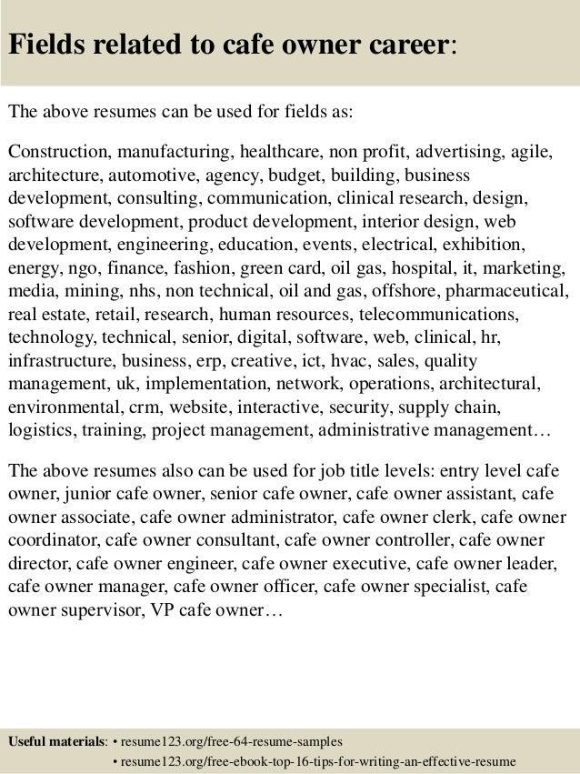 Top 8 cafe owner resume samples