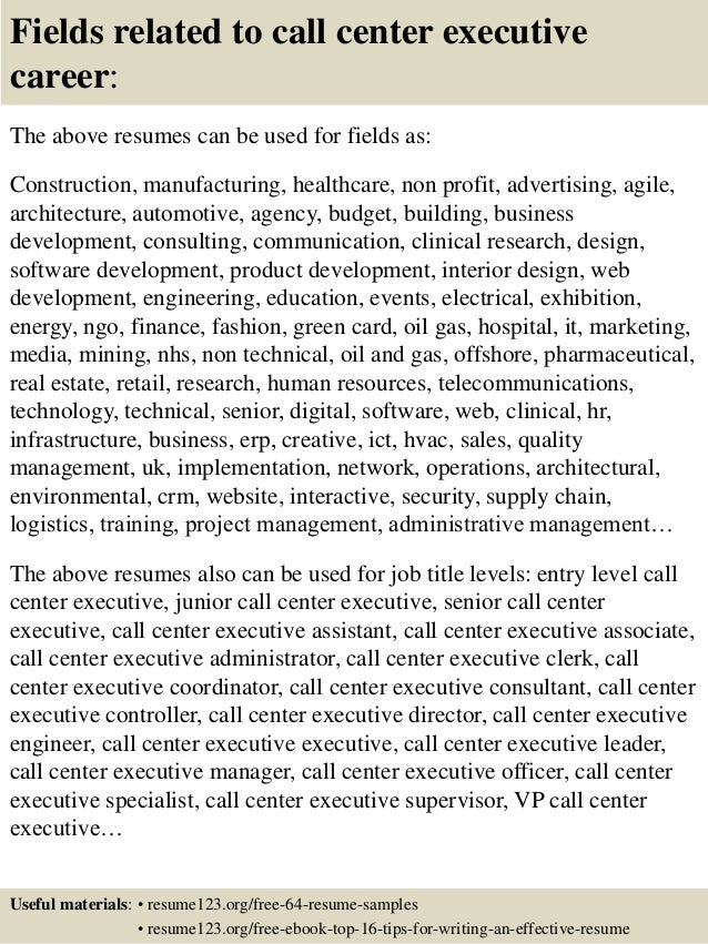 ... 16. Fields Related To Call Center ...  Call Center Sample Resume