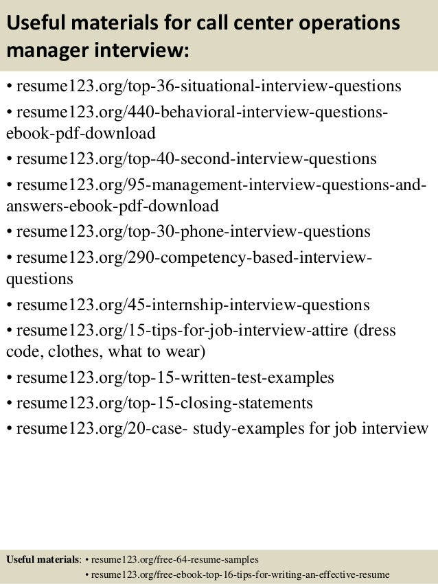 12 useful materials for call center operations manager - Operations Manager Resume Sample Pdf