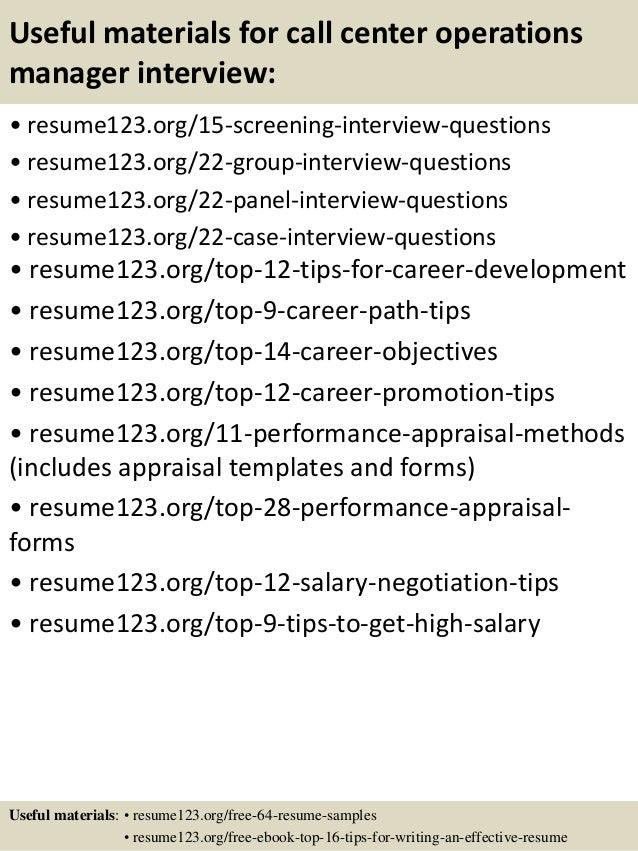 Top 8 Call Center Operations Manager Resume Samples