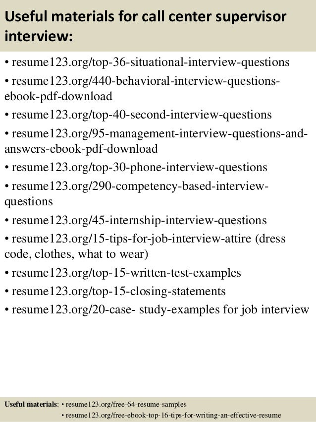 Top  Call Center Supervisor Resume Samples