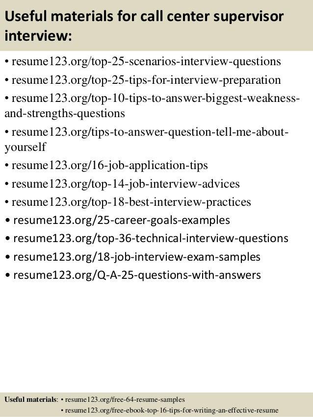 Call center supervisor resume template – Call Center Resume