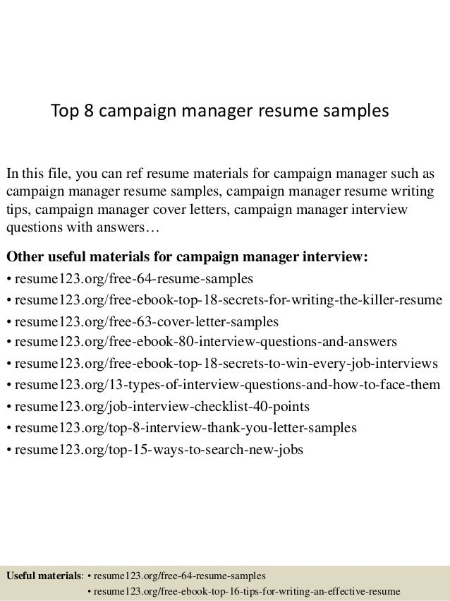 top 8 campaign manager resume samples