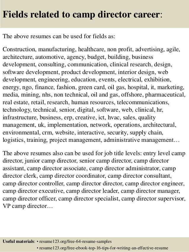 Top 8 camp director resume samples