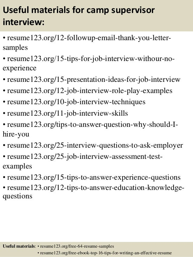 Top 8 camp supervisor resume samples