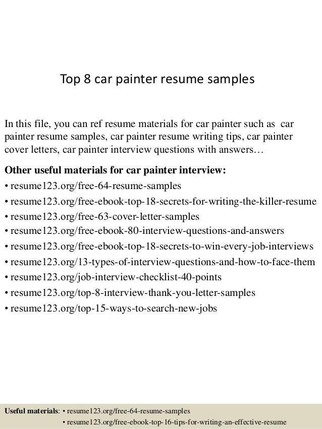 top 8 car painter resume samples