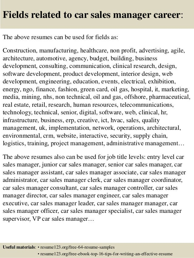 Top  Car Sales Manager Resume Samples