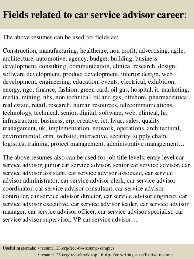 16 fields related to car service advisor - Service Advisor Resume