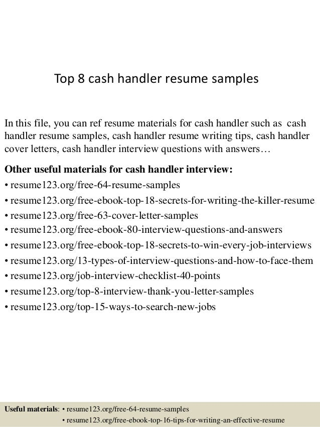 top 8 cash handler resume samples