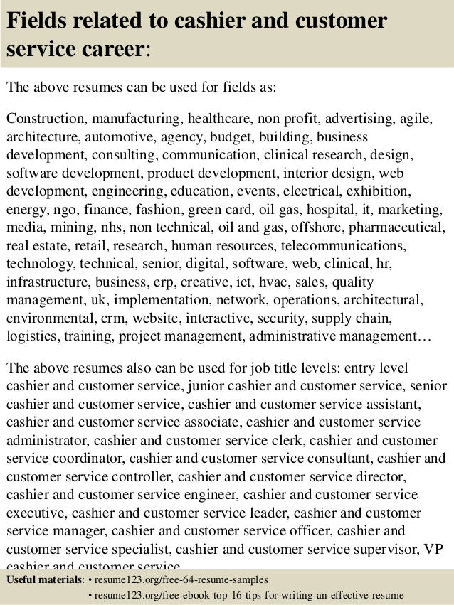 16 fields related to cashier and customer service