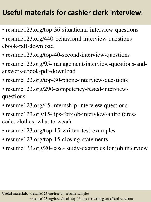 ... 12. Useful Materials For Cashier ...  Cashier Sample Resume