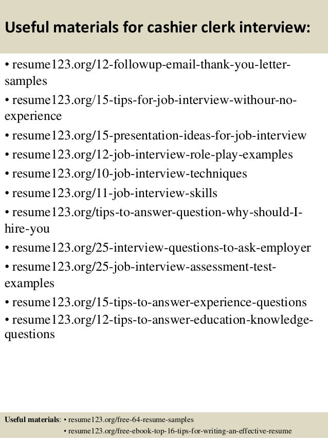 Top 8 cashier clerk resume samples