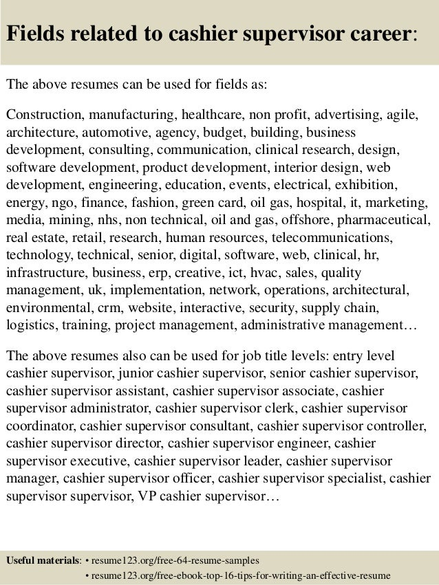 16 Fields Related To Cashier Supervisor