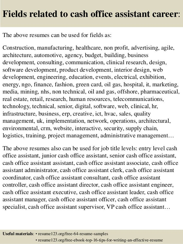top 8 cash office assistant resume samples