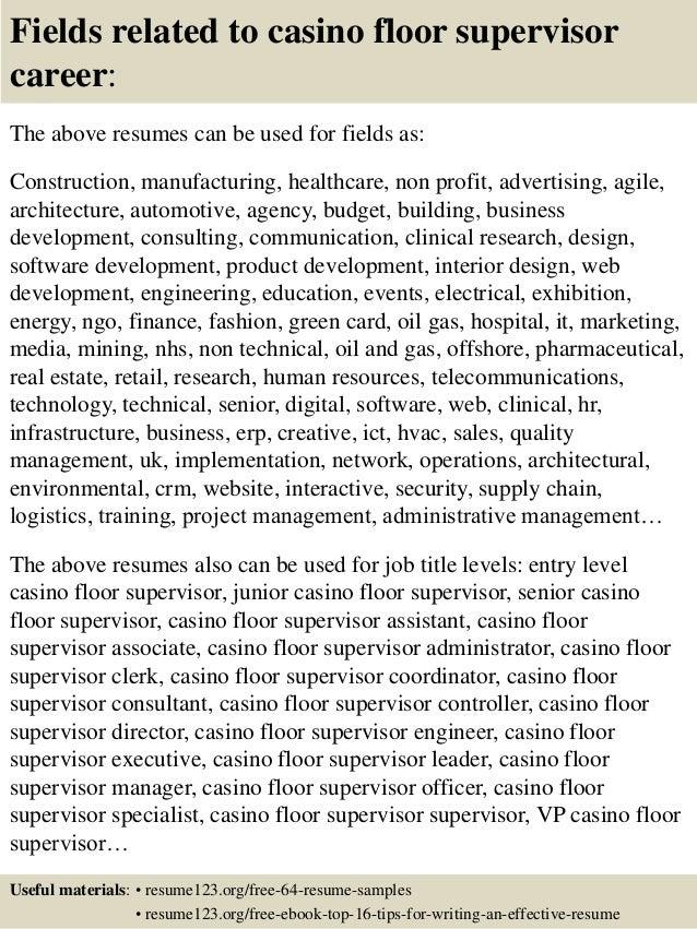 top 8 casino floor supervisor resume samples