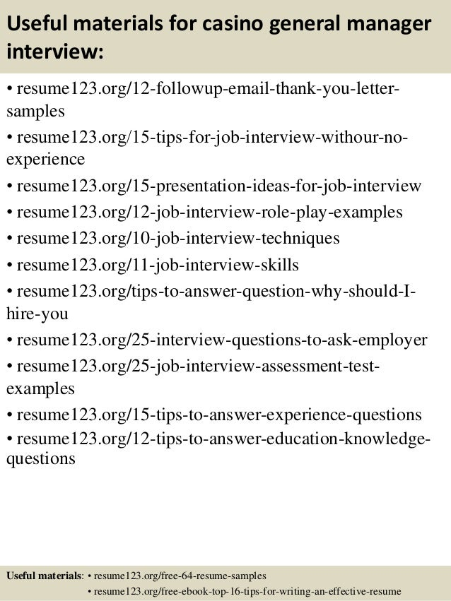Top 8 casino general manager resume samples