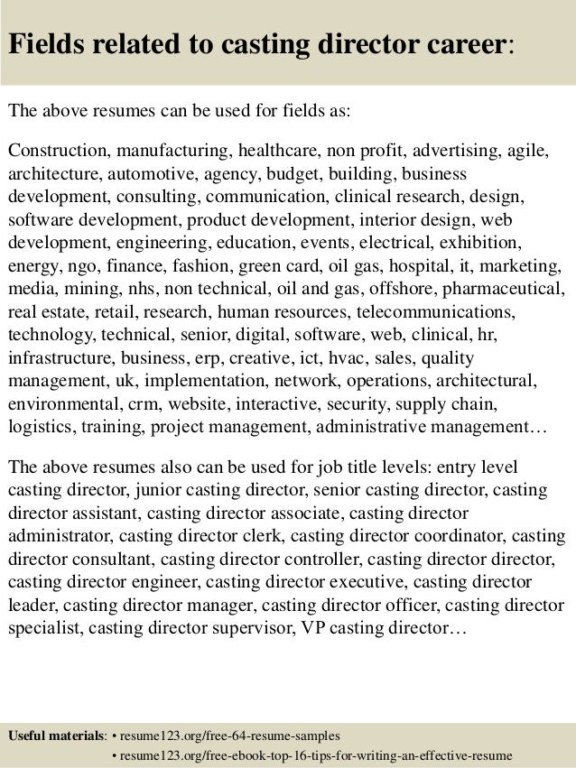 Top 8 casting director resume samples
