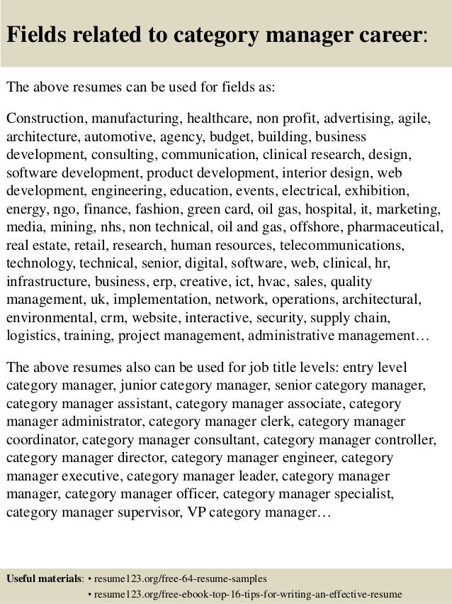 ... 16. Fields Related To Category Manager Career: The Above Resumes ...  Manager Resume Samples