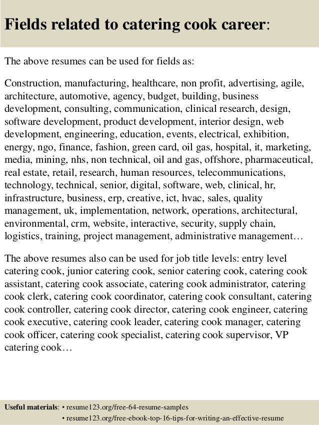 Top 8 Catering Cook Resume Samples