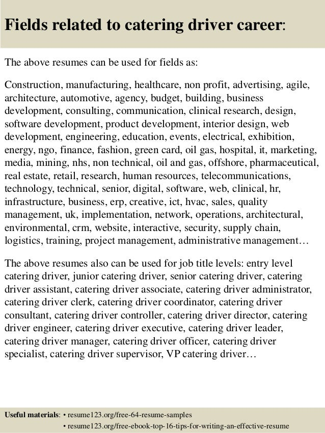 Top 8 catering driver resume samples