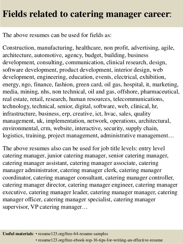 Resume Examples Catering Manager - frizzigame