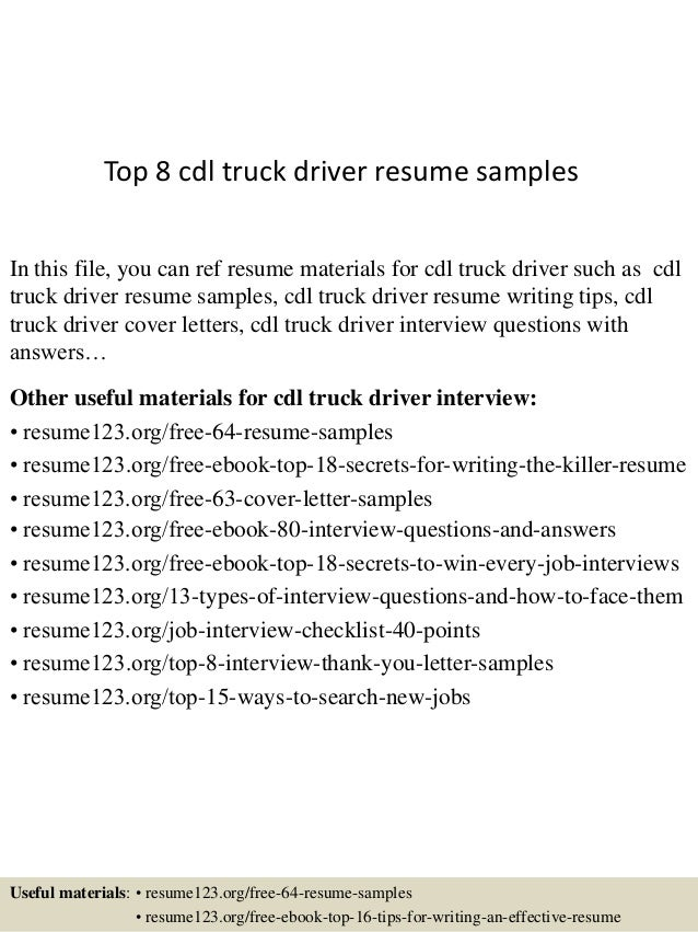 top 8 cdl truck driver resume samples in this file you can ref resume materials