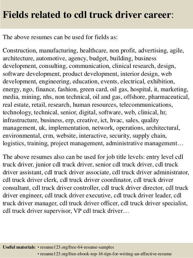Cdl Resume Truck Driver Resume Objective And Cdl Class A Truck Driver  Resume Sample 16 Fields