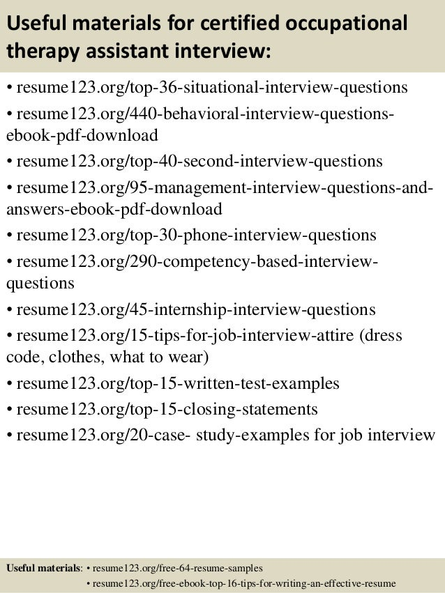 Occupational Therapy Assistant Resume Examples Ataum Berglauf