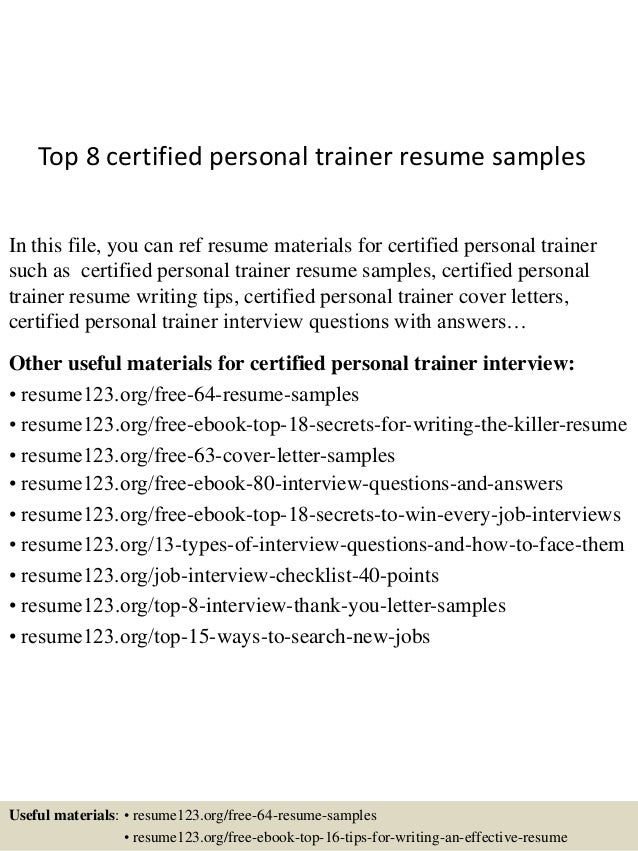 Top 8 Certified Personal Trainer Resume Samples In This File, You Can Ref  Resume Materials ...  Personal Training Resume