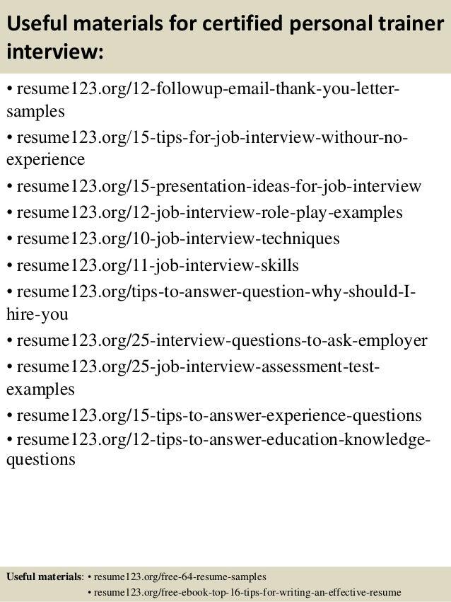 training resume samples