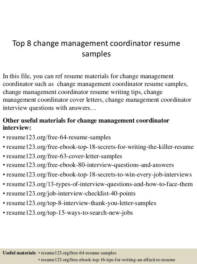 top 8 change management coordinator resume samples 1 638 jpg cb 1434167277