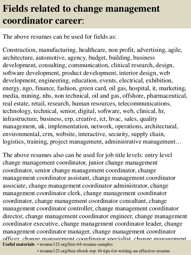 ... 16. Fields Related To Change Management ...  Change Management Resume