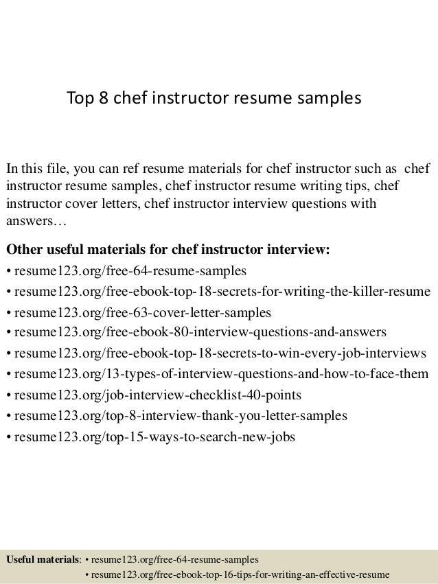 resume samples for chefs