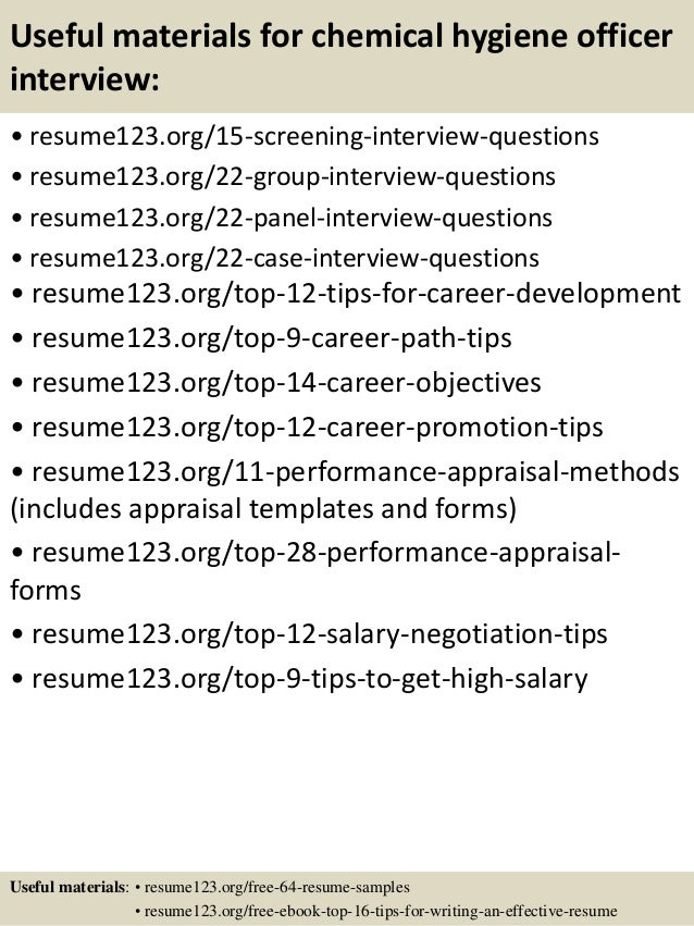 15 useful materials for chemical hygiene officer - Chemical Hygiene Officer Sample Resume